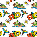 Seamless pattern with Inscription Rio, mountain and parrot