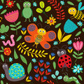 Seamless pattern with insect on black background