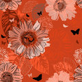 Seamless pattern with insect and flowers vector Stock Photo