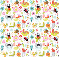Seamless pattern with insects and flowers. Royalty Free Stock Photo