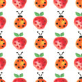 Seamless pattern with insects and fruits. Watercolor background with hand drawn lady bugs and strawberries Royalty Free Stock Photo