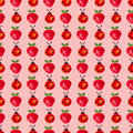Seamless pattern with insects and fruits. Watercolor background with hand drawn lady bugs and strawberries.