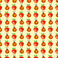 Seamless pattern with insects and fruits. Watercolor background with hand drawn lady bugs and strawberries. Royalty Free Stock Photo