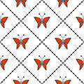 Seamless  pattern with insects, symmetrical geometric red background with butterflies. Decorative repeating ornament Royalty Free Stock Photo