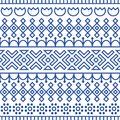 Seamless pattern inspired by scandinavian, finnish folk art. Nordic blue and white background. Repeated decoration Royalty Free Stock Photo