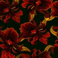 Seamless pattern with iris in black