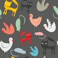 Seamless pattern isolated funny animals Royalty Free Stock Photos