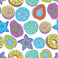 Seamless pattern of isolated hand drawn colorful tropical fruit