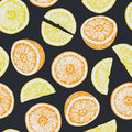Seamless pattern of isolated hand drawn oranges and lemon slices