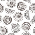 Seamless pattern of isolated hand drawn oranges in sketch style.