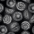 Seamless pattern of isolated hand drawn oranges and slices in sk