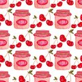 Seamless pattern with jam jar and cherry . Cute background in watercolor. Sweet berry packaging design or wrapping paper. Royalty Free Stock Photo