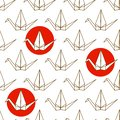 Seamless pattern with Japanese origami cranes and red circles on white background Royalty Free Stock Photo