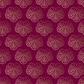 Seamless pattern. Japanese ornament. Gold flowers on a burgundy background. Royalty Free Stock Photo