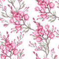 Seamless pattern with the Japanese quince. Watercolor illustration.