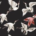 Seamless pattern with Japanese white crane in batik style. Vector illustration. Royalty Free Stock Photo