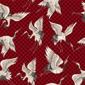 Seamless pattern with Japanese white cranes in different poses for your design embroidery, textiles, printing