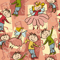 Seamless pattern with joyful dancing boys and little fairies