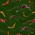 Seamless pattern of kangaroos and boomerangs.