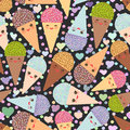Seamless pattern Kawaii funny Ice cream waffle cone, muzzle with pink cheeks and winking eyes, pastel colors on white background. Royalty Free Stock Photo