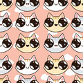 Seamless funny vector pattern with cute cats in cartoon style