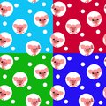 Seamless pattern with kawaii pig. Chinese symbol of the 2019 year. Christmas vector illustration.