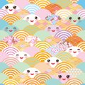 Seamless pattern Kawaii with pink cheeks and winking eyes simple Nature background with japanese sakura flower, rosy pink Cherry, Royalty Free Stock Photo