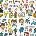 Bezšvový vzor kreslenie materská škola šťastný hrať ilustrácie škôlka škôlka