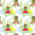 Seamless pattern for kids with frogs Royalty Free Stock Images
