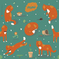 Seamless pattern with kind funky ginger cats, fun, stylish. Vector illustration with cat accessories - food, toys, broken flower. Royalty Free Stock Photo
