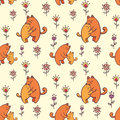 Seamless pattern with kittens