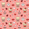 Seamless pattern of kittens and cupcake.