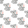 Seamless pattern with koala. Vector background with animals. Royalty Free Stock Photo