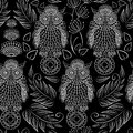 Seamless pattern with lace decorative owls abstract Royalty Free Stock Photo