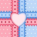 Seamless pattern with lace and heart-shaped card in pink and blu
