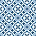 Seamless pattern in lace style. Trendy classic blue elements on a white background.