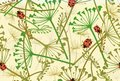 Seamless pattern with ladybirds and leaves. Vector illustration.