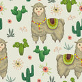 Seamless pattern with lama animal, cacti and floral elements.