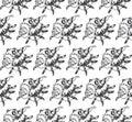 seamless pattern Lambis spider conch Chicoreus aculeatus, large sea snail Unique shells, molluscs Gastropoda. Sketch black contour Royalty Free Stock Photo