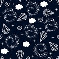 Seamless pattern with lamp stars clouds - vector illustration, eps