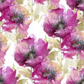 Seamless pattern of large pink flowers Royalty Free Stock Photo