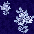 Seamless pattern with large roses in shades of blu blue is presented Royalty Free Stock Image