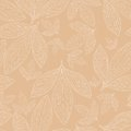 Seamless pattern of leaves on a beige background Royalty Free Stock Image
