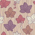 Seamless pattern with leaves and berries background in autumn colors can be used for wallpaper fills web Royalty Free Stock Images