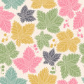 Seamless pattern with leaves and berries background in autumn colors can be used for wallpaper fills web Royalty Free Stock Photography