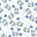 Seamless pattern leaves and berries on a white background