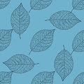 Seamless pattern - leaves on the blue background