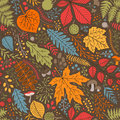 Seamless autumn pattern with leaves, berries and branches