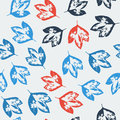 Seamless pattern with leaves on cold background