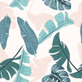 Seamless pattern of leaves monstera and banana